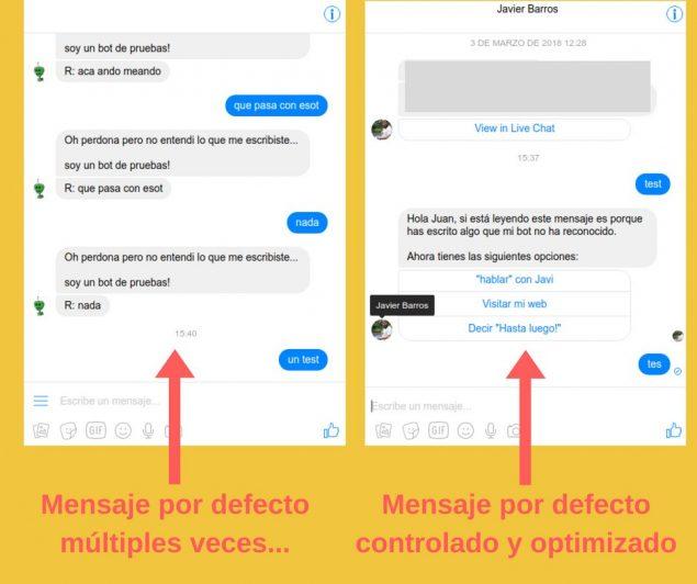 Mensajes por defecto chatbots